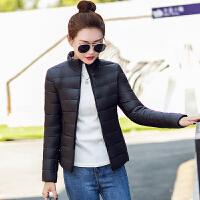 2018新款棉衣新款冬装女款轻薄羽绒短款外套大码修身 4XL 建议5-0斤