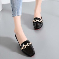 乌龟先森 凉鞋 女士包头新款夏季韩版半拖鞋女式时尚外穿平底无后跟卡扣舒适大码鞋子
