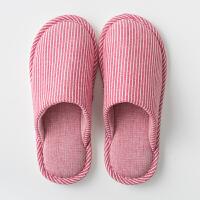 日式居家居亚麻情侣室内地板月子家用男女防滑软底秋冬保暖棉拖鞋