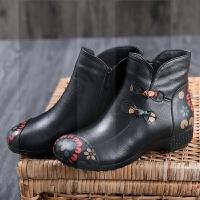 ����鞋2018新款秋冬靴子加�q短靴真皮�底平底中老年女鞋大�a棉鞋SN9382 黑色 35 ���