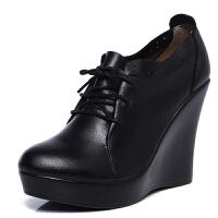 冬秋牛皮深口单鞋系带坡跟女鞋舒适绒里走秀T台皮鞋真皮真皮
