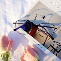 韩版复古眼镜框女潮方形女潮大框文艺金属防辐射眼镜框架平光镜男