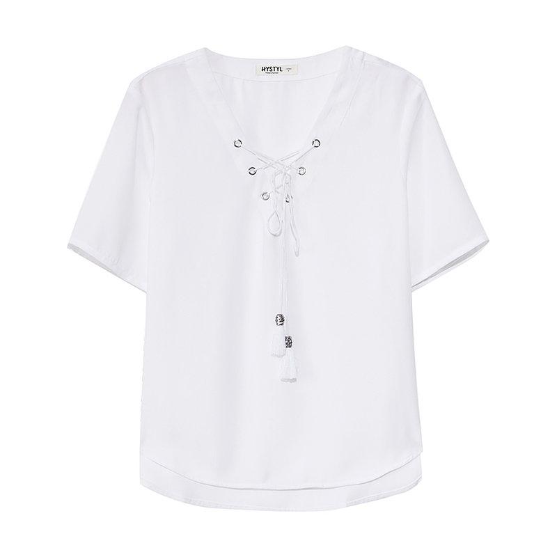 【1件3折到手价:22.5】美特斯邦威夏季女士系带短袖套头衬衫 美特斯邦威超级粉丝节,全场限时1件3折~