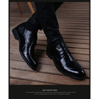 皮鞋男韩版加绒防臭内增高男鞋青年英伦尖头系带商务休闲皮鞋