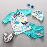 韩国儿童泳衣男童分体泳装可爱婴儿宝宝小中童温泉泳衣裤套装 青色