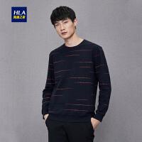 HLA/海澜之家圆领花纹长袖T恤2018秋季新品舒适套头长袖T恤男HNTAD3E049A