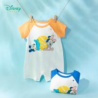 迪士尼Disney童装 婴幼儿连体衣撞色肩开纯棉爬服2020年夏季新品男女宝宝短袖哈衣舒适透气