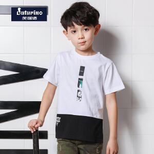 【促】芙瑞诺童装男童夏装2018夏季新品短袖圆领T恤印花上衣