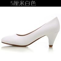 春秋单鞋工作鞋女黑色浅口职业鞋舒适防滑软底尖头高跟鞋大码女鞋 白色 白色5厘米