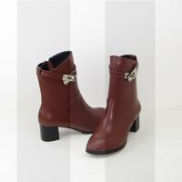 春秋冬季中筒靴女士皮靴中靴子中跟真皮粗跟短靴40大码女靴41-43SN8320 34 标准码 加绒