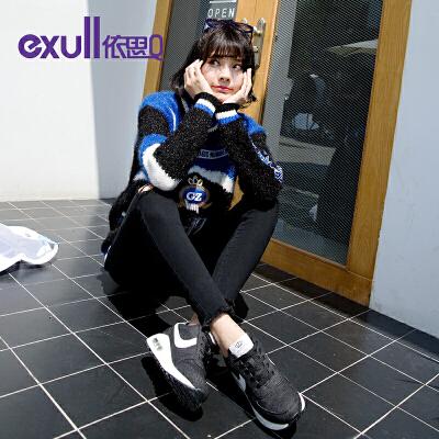 依思Q秋新款系带拼色牛仔布女鞋百搭休闲单鞋气垫运动鞋