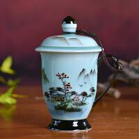 景德镇青瓷茶杯带盖手绘陶瓷带盖老板杯个人杯泡茶杯办公茶杯礼品