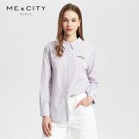 【1件3折到手价:88.5】纯棉MECITY女装简约紫色条纹心机字母刺绣设计感小众长袖衬衫