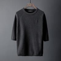 秋冬季男士圆领套头毛衣五分袖修身打底针织衫男短袖线衫潮