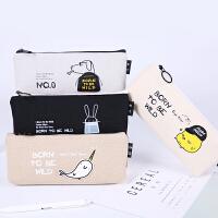 韩国可爱小清新帆布笔袋 创意简约初中学生新铅笔盒女孩 文具用品