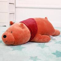 枕头可爱咱们裸熊公仔正版熊猫毛绒玩具趴姿趴趴熊睡觉抱枕送女友