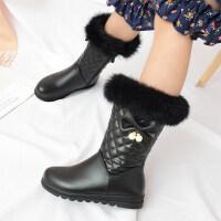 2018新款冬季鞋加绒棉靴防水儿童雪地靴中大童短靴韩版公主女童靴