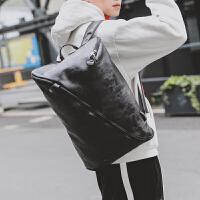 简约男士户外旅行包背包行李包韩版个性街头皮质大容量双肩包新款