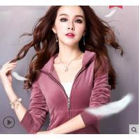 新款时尚休闲运动服 金丝天鹅绒运动套装女卫衣两件套