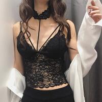 2018春装新款蕾丝拼接打底衫修身显瘦中长款抹胸围脖性感文胸女潮