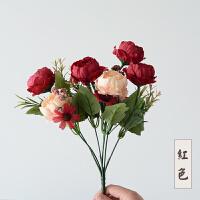 仿真玫瑰花跳舞兰康乃馨绣球塑料花假花仿真花束客厅花艺摆设装饰 红色 牡丹一束