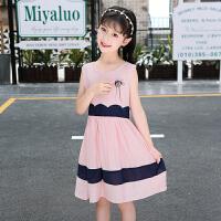 女童装裙子新款夏装小女孩连衣裙条纹中大童儿童衣服