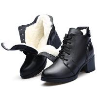 妈妈棉鞋冬季新款真皮女短靴粗跟羊毛靴保暖加绒马丁靴冬鞋女真皮 黑色 1209建议拍大一码