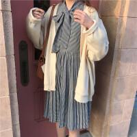 春季2018新款韩版千鸟格绑带长袖连衣裙女宽松显瘦中长款百褶裙