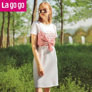 Lagogo/拉谷谷2018年夏季新时尚学院风女连衣裙两件套HALL815Y33