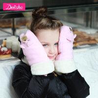 【3折价:26.4】笛莎女童手套2019冬季新款中大童卡通刺绣毛绒手套