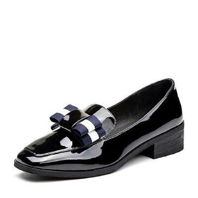 BASTO/百思图2018春季专柜同款PU蝴蝶结漆皮学院风女乐福鞋RDB23AQ8