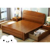 实木床现代中式主卧简约1.8米橡木储物高箱床1.5m双人床婚床家具 +床头柜*2 1800mm*2000mm 箱框结构