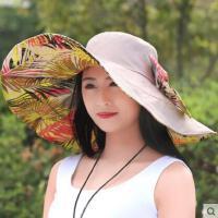 新品防晒出游休闲海边沙滩帽防紫外线太阳帽可折叠遮阳帽子女