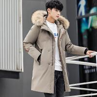 2018冬季新品男士中长款真毛领羽绒服男断码外套