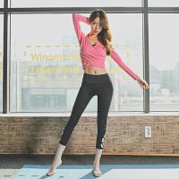 秋冬新款瑜伽服套装七分瑜伽裤露肚脐长袖韩国运动健身两件套