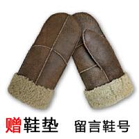 连指羊皮毛手套男女冬季加厚保暖羊毛骑车防风寒 卡其色 无挂绳