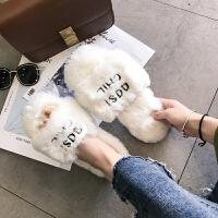欧洲站毛毛拖鞋女外穿时尚2018新款秋冬社会网红厚底兔毛凉拖鞋子