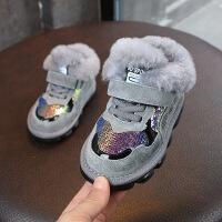 冬季童鞋亮片雪地靴加厚女童保暖鞋1-3岁男宝宝短靴防滑运动棉鞋2