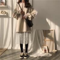 加绒保暖套头卫衣女连衣裙春季新款韩版宽松显瘦蕾丝中长款打底裙