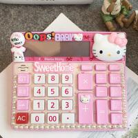 Kitty猫卡通语音计算器可爱迷你太阳能12位数办公大键创意礼物 粉红色 语音款Kitty