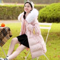 少女冬装带毛领中长款加厚棉衣2018新韩版初中学生棉袄