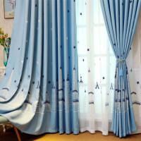 地中海风格遮光棉麻刺绣花窗帘成品简约现代客厅卧室飘窗窗帘