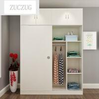 ZUCZUG衣柜实木简约现代经济型推拉门2门组装大容量单人简易衣柜 1.6米长 1.8米高+顶柜 2门 组装