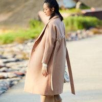 [AMII东方极简] JII AMII2017冬装新森系原宿风加厚长款毛呢子大衣女外套长过膝