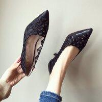 韩版2018春季新品镂空浅口尖头细跟高跟单鞋6厘米女鞋黑色工作鞋