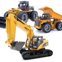 汇纳 遥控工程车挖土机合金模型耐摔大号无线遥控玩具车 车身电池+五号遥控电池+螺丝刀