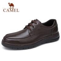 camel骆驼男鞋 秋季新款男士商务休闲牛皮系带办公鞋差旅爸爸鞋