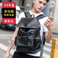 韩版皮商务双肩包男潮流翻盖抽带时尚背包学生书包男士旅行水桶包