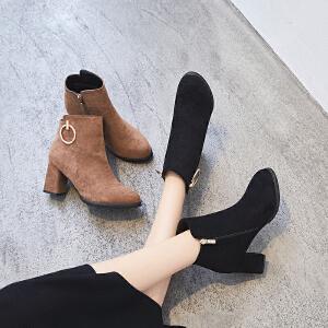 ZHR2018秋冬季新款韩版百搭粗跟短靴高跟单靴时尚女靴学生靴子潮