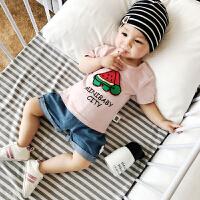 婴儿打底衫纯棉上衣夏季三角西瓜乌龟1岁衣服幼儿外穿宝宝T恤